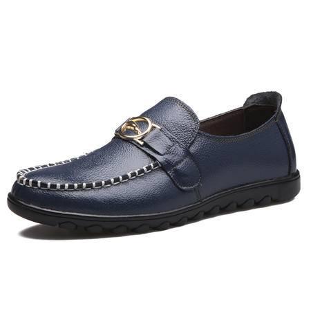 流行男鞋 日常休闲鞋男士透气英伦皮鞋真皮低帮鞋单鞋子潮男