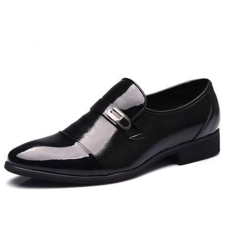 春秋男士商务皮鞋正装皮鞋真皮牛皮软皮软底一脚蹬英伦皮鞋鞋子男