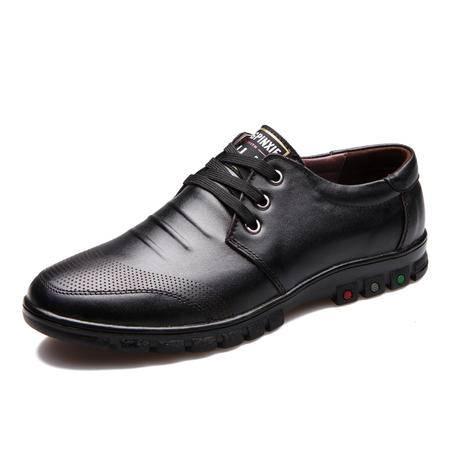 男士休闲鞋男真皮商务休闲皮鞋英伦系带春夏季男鞋潮流单鞋子