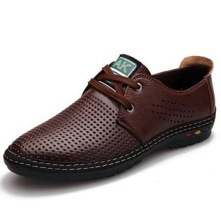 真皮男凉鞋男士透气牛皮洞洞鞋镂空皮鞋透气休闲男鞋商务工作鞋