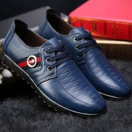 男鞋正品真皮2015春季新款男士商务休闲皮鞋系带英伦低帮鞋