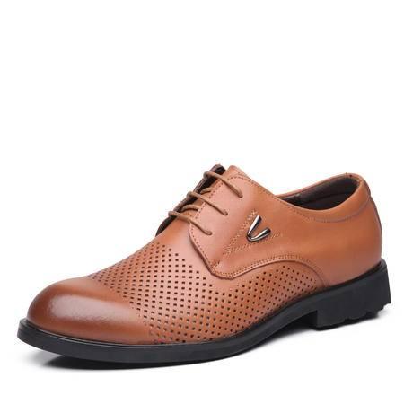 皮鞋 男士夏季新款真皮透气镂空皮鞋商务休闲鞋 男凉鞋 男鞋