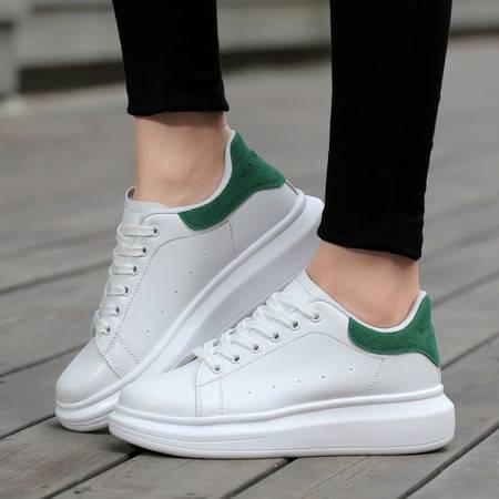 凯王帝 小白鞋女韩版增高厚底松糕鞋球鞋学生板鞋休闲鞋白色帆布鞋