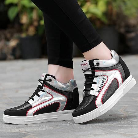 凯王帝 韩版秋季新款纯色小白鞋时尚系带休闲女鞋内增高6.5CM运动鞋