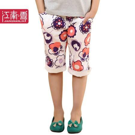 江南霖童装夏款女童全棉短裤弹力贡缎印花七分裤JBXS3302