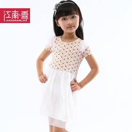 江南霖童装 夏款女童印花公主裙短袖连衣纱裙JBXS4112