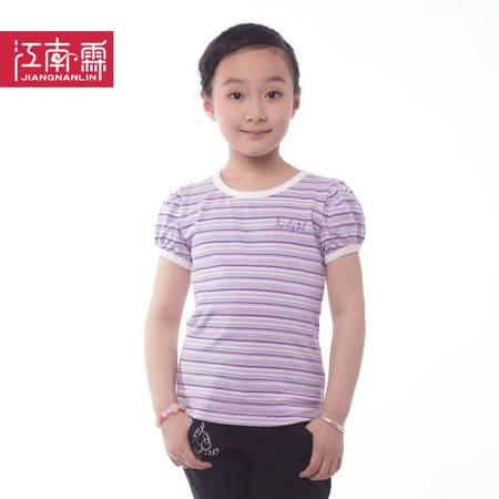 江南霖童装女童银丝横条圆领公主泡泡袖短袖T恤JBXZ0102