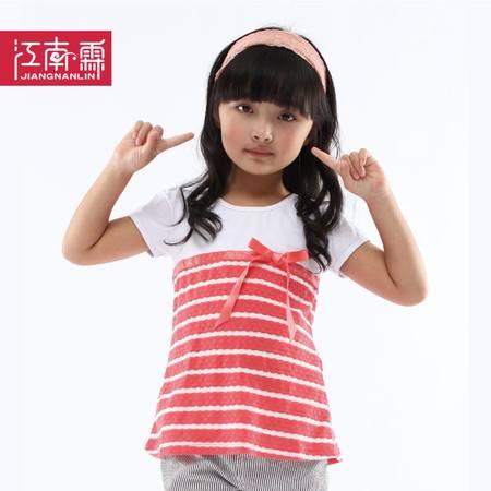 江南霖童装 夏款女童全棉短袖T恤缎带蝴蝶结横条JBXZ0106
