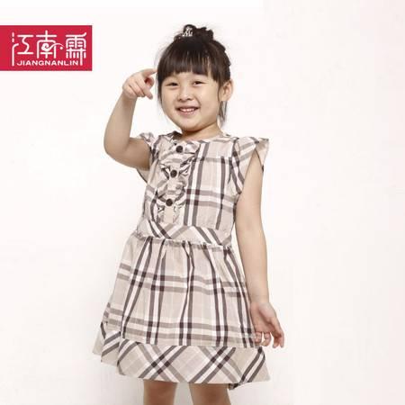 江南霖童装夏款女童全棉淑女格子短袖双层连衣裙JAXS4116