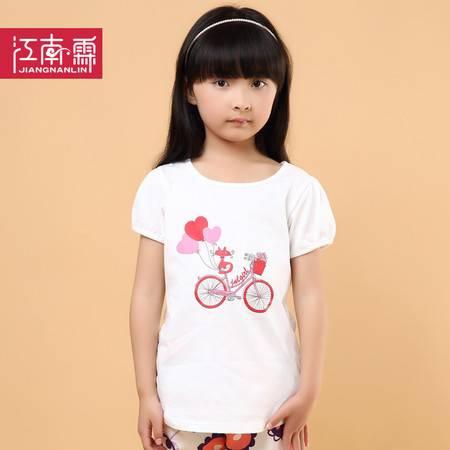 江南霖童装夏季新品女童糖果色全棉短袖T恤中大童自行车JCXS0114