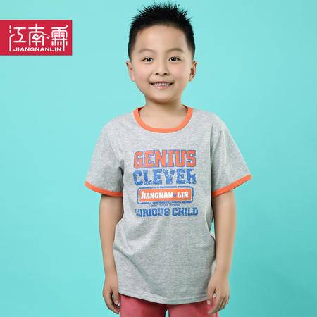 江南霖童装夏季新品男童全棉短袖T恤字母印花中大童装JCXZ0115