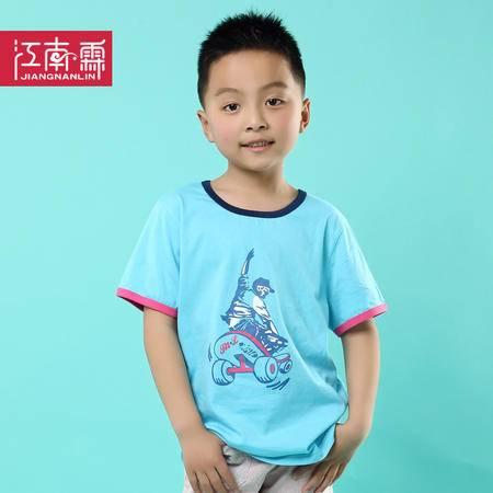 江南霖童装男童2014夏新款全棉短袖T恤滑板印花中大童装JCXZ0117