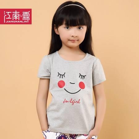 江南霖童装夏季新品女童糖果色全棉短袖T恤卡通印花JCXZ0110