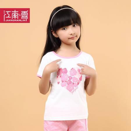 江南霖童装夏季新品女童糖果色全棉短袖T恤玫瑰印花JCXZ0104
