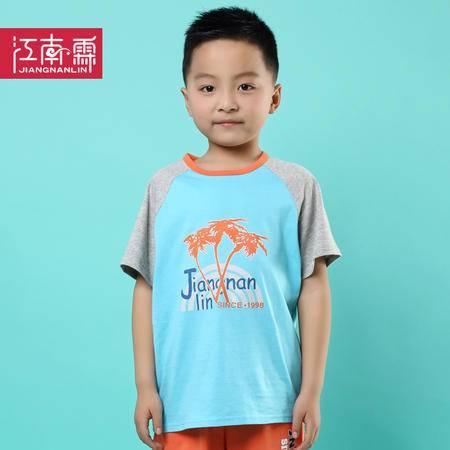 江南霖童装夏季新品男童全棉短袖T恤椰树印花中大童JCXZ0109