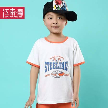 江南霖布衣风夏季童装男童纯棉短袖T恤中大童橄榄球印花JCXZ0129