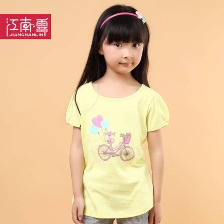 江南霖童装夏季新品女童糖果色全棉短袖T恤卡通印花JCXZ0114