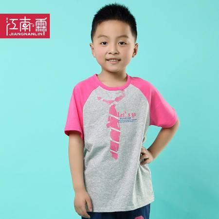 江南霖童装夏季新品男童全棉短袖T恤领带印花中大童JCXZ0133