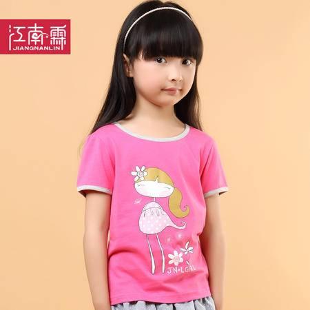 江南霖童装夏季新品女童糖果色全棉短袖T恤卡通女孩JCXZ0106