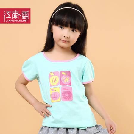 江南霖童装夏季新品女童糖果色全棉短袖T恤苹果印花JCXZ0112