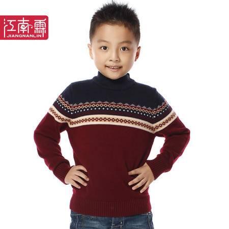 江南霖秋冬装新款男童英伦风圆领提花保暖套头羊毛衫JCQZ0405