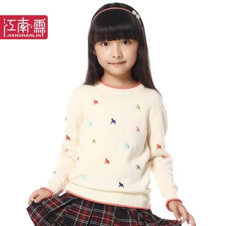 江南霖秋冬新款女童公主风全棉保暖圆领刺绣套头针织衫JCQZ0410