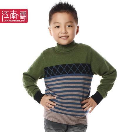 江南霖秋冬装新款男童韩范圆领条纹保暖套头羊毛衫JCQZ0403