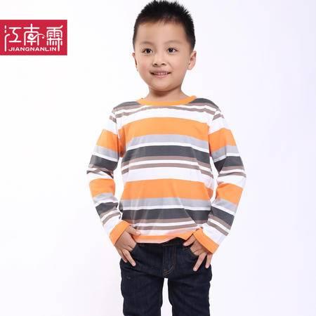 江南霖童装春秋款男童圆领百搭全棉横条长袖T恤JBQZ0125