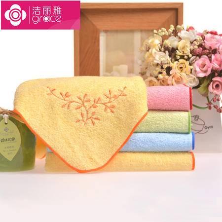 Grace 洁丽雅 木纤维绣花美容毛巾 面巾 6504-5 (5条装)颜色随机