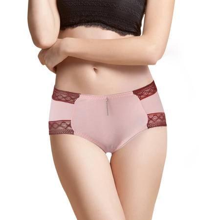 碧竹女士内裤中腰 竹纤维蕾丝性感抗菌平角透气舒适