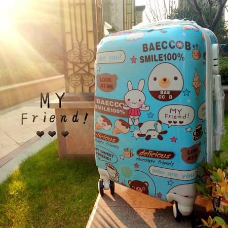 PC拉杆箱万向轮卡通女蓝色黄色20寸旅行箱登机箱密码箱 品牌行李箱男正品