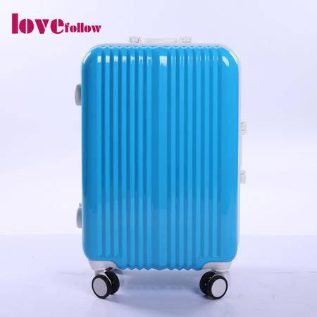 爱相随拉杆箱pc旅行箱登机箱包女万向飞机轮铝框箱 24寸AXSB01