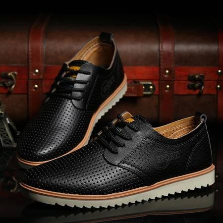 新款镂空男士休闲鞋透气男鞋英伦商务皮鞋正品系带K850款