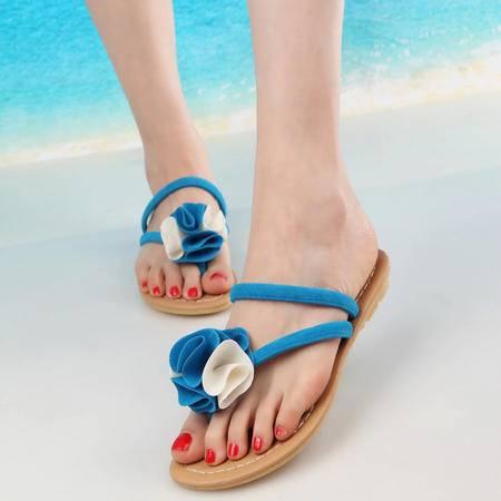 新款彩色花朵平底舒适百搭防滑时尚休闲正品女凉拖鞋A12