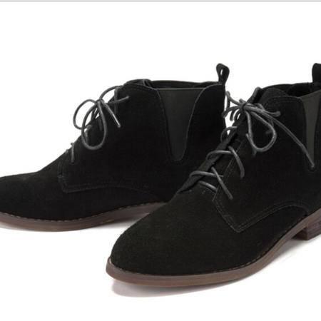 2015秋冬新款真皮女靴马丁靴英伦粗跟皮靴时尚女鞋