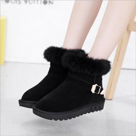 2015冬季韩版兔毛女雪地靴子棉靴女式加绒冬季加厚磨砂真皮低筒靴