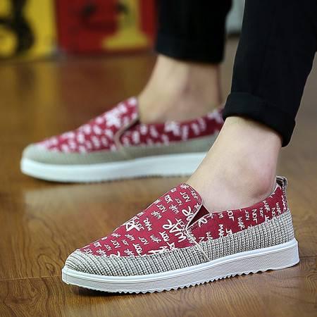 HD经典花布休闲男鞋韩版潮透气男帆布鞋低帮板鞋单鞋套脚懒人鞋