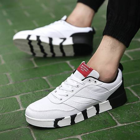 HD男士帆布鞋男韩版潮男鞋子百搭学生板鞋低帮休闲布鞋拼色男鞋