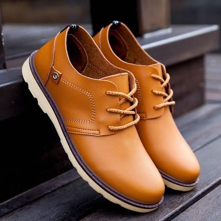 HD春季新款男式单鞋超纤皮休闲鞋品牌男鞋 英伦商务男士皮鞋子