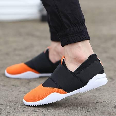 HD套脚一脚蹬懒人潮鞋韩版男士休闲鞋内增高运动鞋透气帆布男鞋