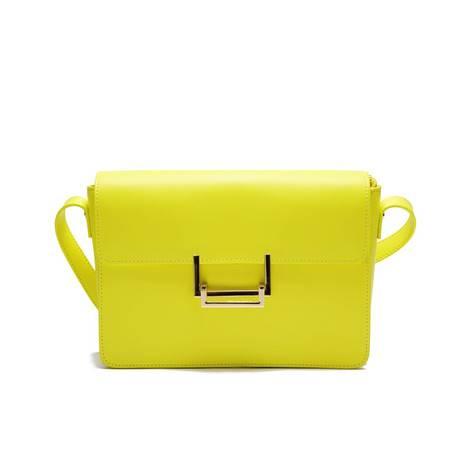VOCCUE新款春夏欧美大牌牛皮女士包斜跨单肩包(黄色)——