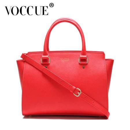 VOCCUE新款牛皮蝙蝠包欧美大牌女士包包潮流女包斜跨单肩包(红色)