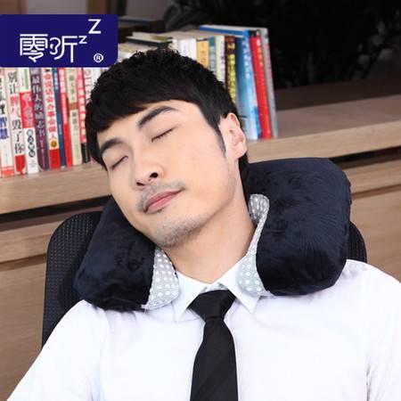 零听天鹅绒高端保健u形枕头拆洗 充气保健颈椎U型枕 护颈椎枕