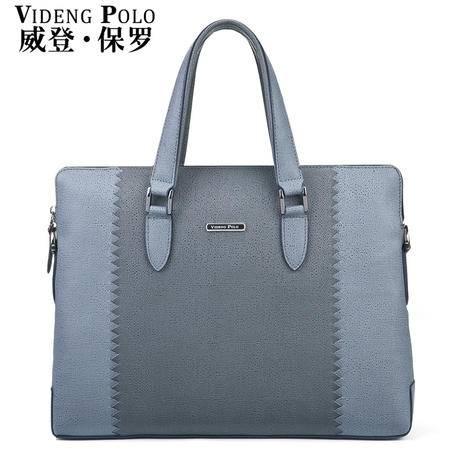威登保罗男士手提包横款新款公文包单肩斜挎皮包电脑休闲商务男包-2