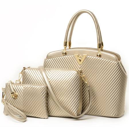 女包冬款 欧美大牌时尚V字型子母包三件套手提包-2