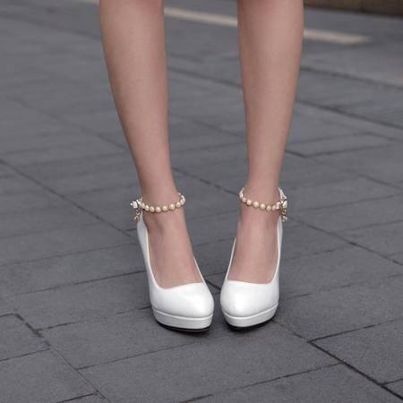 春季新品圆头环扣高跟鞋性感浅口单鞋女工作鞋