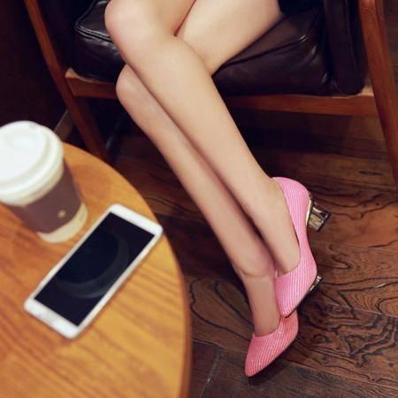 新款简约大方时尚休闲闪钻条纹亮色金属银单鞋