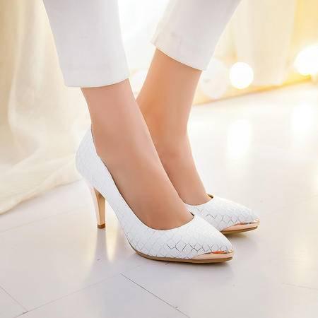 春季新款韩版单鞋尖头高跟女单鞋潮款浅口印花单鞋