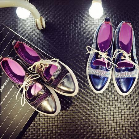 四季拼接尖头单鞋系带韩版漆皮女鞋镂空平跟深口透气美鞋
