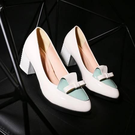 新款韩版圆头女式单鞋蝴蝶结拼色粗跟女鞋舒适高跟鞋职业单鞋